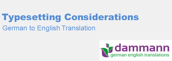 German to English Typesetting Considerations